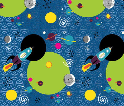 Retro Rocket Adventure fabric by vanillabeandesigns on Spoonflower - custom fabric