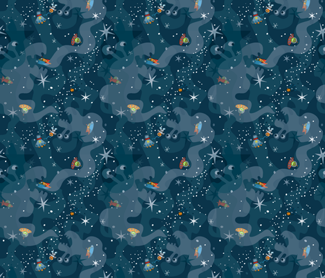 Cosmic Voyage ~ Space Beasts fabric by karencraig on Spoonflower - custom fabric