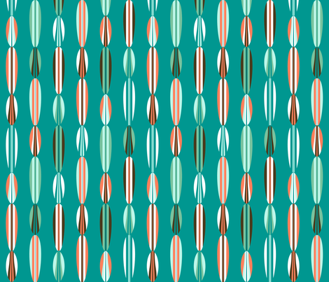 Surfboard Bead Curtain Teal