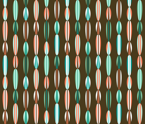 Surfboard Bead Curtain Brown fabric by modgeek on Spoonflower - custom fabric