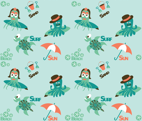 Surfing Sea Creatures fabric by honey_in_the_wild on Spoonflower - custom fabric