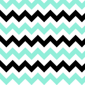 Mint and Black Chevron Stripes