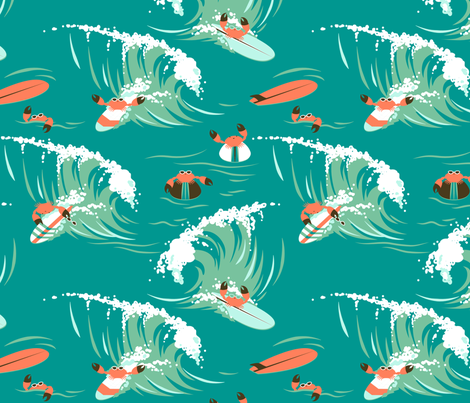 Hang Ten... Claws! fabric by hootenannit on Spoonflower - custom fabric