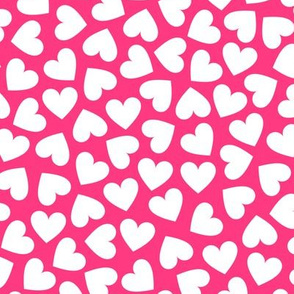 White Hearts On Pink