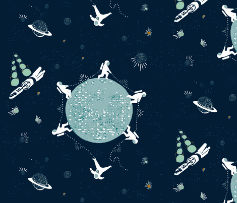 Space exercise! fabric by mirjamauno on Spoonflower - custom fabric
