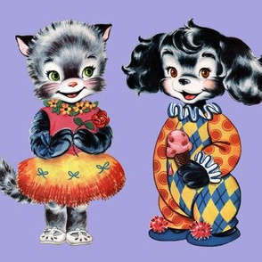vintage retro kitsch cats kittens puppies puppy dogs children toddler nursery clowns hula dancers paper dolls costumes Anthropomorphic