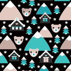 Blue christmas grizzly bear nordic village
