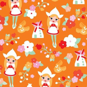 Orange Holland Dutch Icons illustration pattern