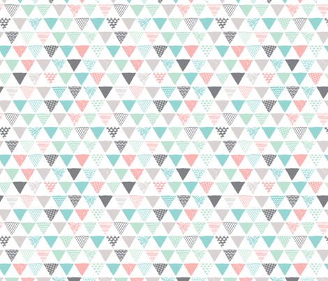 geometric tribal aztec triangle pastel pink and blue