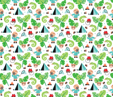 Survival boy jungle adventure Brazil illustration fabric by littlesmilemakers on Spoonflower - custom fabric