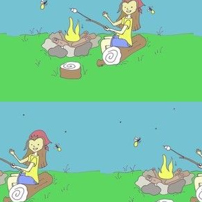 Girl at Campfire