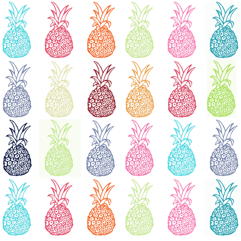 Summertime Pineapple Party, Version 1 fabric by theartwerks on Spoonflower - custom fabric