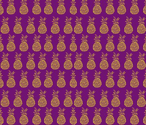 Pineapple Party in Purple and Yellow  fabric by theartwerks on Spoonflower - custom fabric