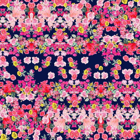 Small Print Hot Pink, Coral, Red, and Yellow Antique Floral on Navy   fabric by theartwerks on Spoonflower - custom fabric