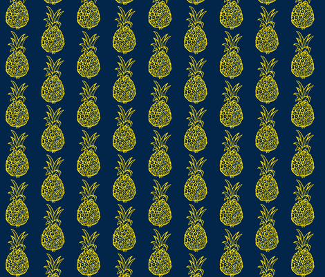 Pineapple Party in Navy and Yellow fabric by theartwerks on Spoonflower - custom fabric