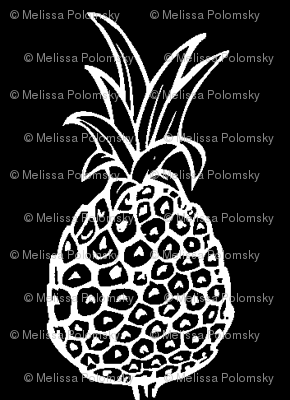 Small Print Pineapple Party- White on Black