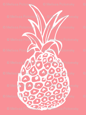 Pineapple Party - Smaller Print, White on Coral