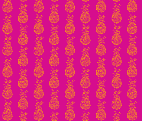 Pineapple Party in Hot Pink and Orange fabric by theartwerks on Spoonflower - custom fabric