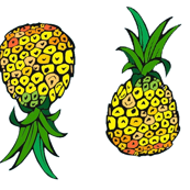 Pineapple Party. Small Print on White