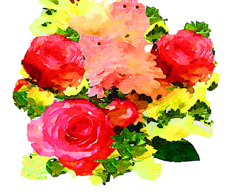 Roses Watercolor Painting on White fabric by theartwerks on Spoonflower - custom fabric