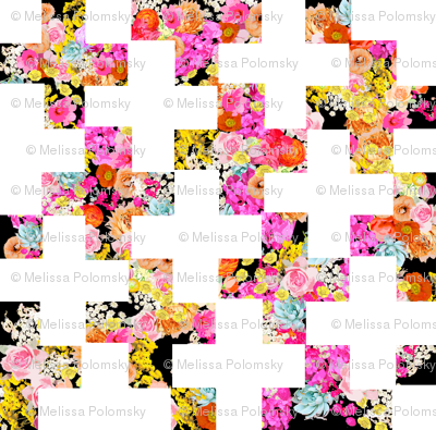 Florescent Floral on Black with Modern White Plus Pattern