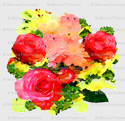 Roses Watercolor Painting on White