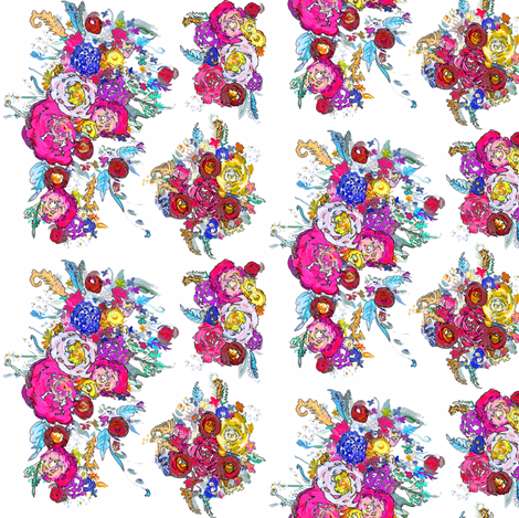 SMALL print Bright Floral Painting with White Background. fabric by theartwerks on Spoonflower - custom fabric