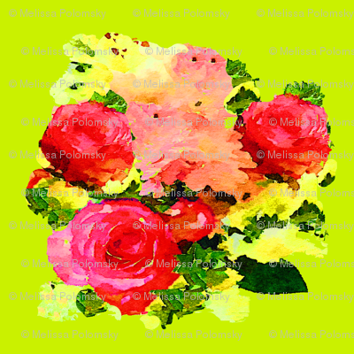 Watercolor Roses on Lime