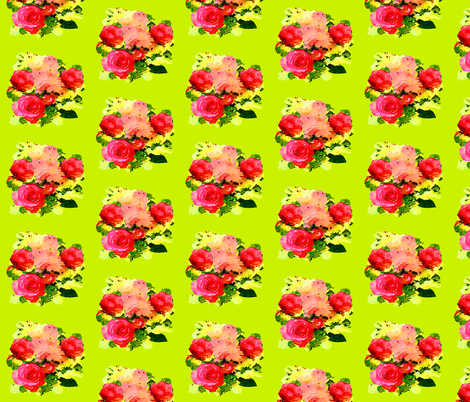 Watercolor Roses on Lime fabric by theartwerks on Spoonflower - custom fabric