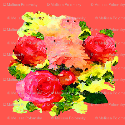 Watercolor Roses Painting on Coral
