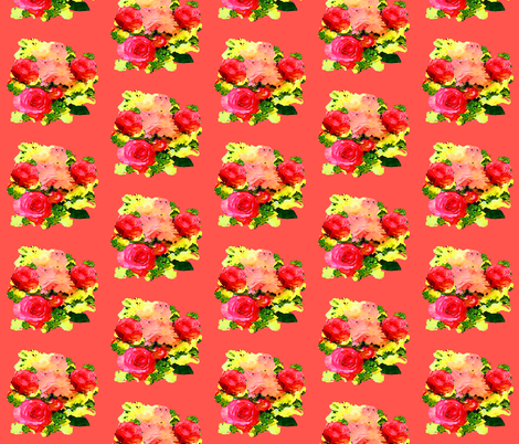 Watercolor Roses Painting on Coral fabric by theartwerks on Spoonflower - custom fabric