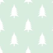 Woodland trees white on mint