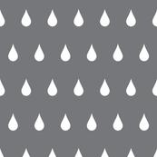 Raindrops white on charcoal