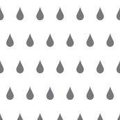 Raindrops charcoal on white