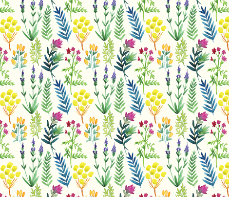 Watercolor floral fabric by alex_dzh on Spoonflower - custom fabric