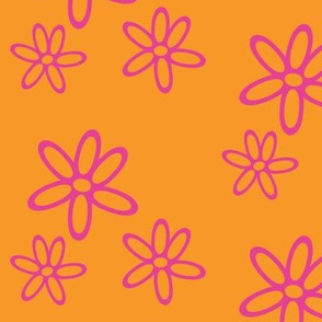 Floral Simplicity 01 - Pink on Orange
