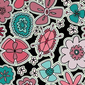Flower Jamboree (Purple, Pink, Teal)