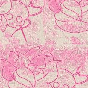 worn skull rose pink