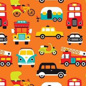 Fun boys cars fire truck and retro traffic illustration print