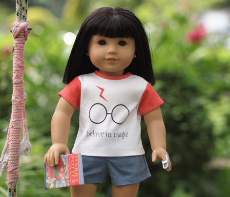 American Girl Doll Cut and Sew T- Shirts - Harry Potter and Squirrel
