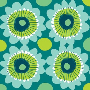 Retro teal flowers