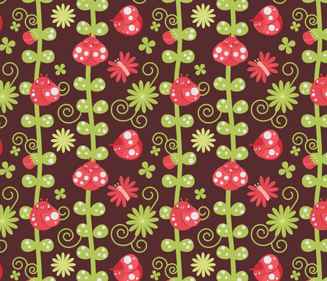 luck be a ladybug, tonight fabric by graciasbear on Spoonflower - custom fabric