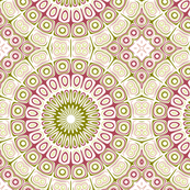 Dusty Rose and Olive Green Kaleidoscope Flowers