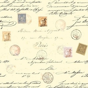 Paris letter post card stamp aged newspaper 1800's hand written calligraphy ink