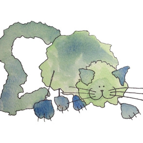 Fluffy Green and Blue Kitty Cat