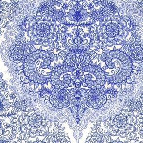 vintage blue doodle