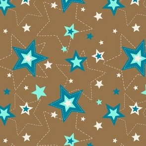 Stars brown and teal