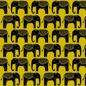 Elephant Parade Block Print - Goldenrod by Andrea Lauren
