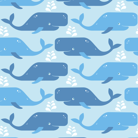 Just whales in light blue fabric by heleenvanbuul on Spoonflower - custom fabric