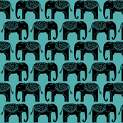 Elephant Parade Block Print - TIffany Blue by Andrea Lauren